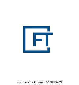 Simple Blue FT initial Logo designs template