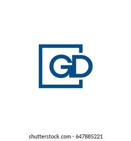Simple Blue GD initial Logo designs template