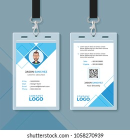 Simple Blue Geometric ID Card Design Template