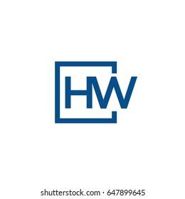 Simple Blue HW initial Logo designs template