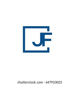 Simple Blue JF initial Logo designs template