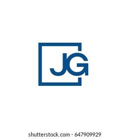 Simple Blue JG initial Logo designs template