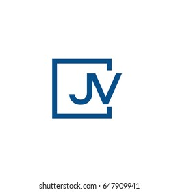 Simple Blue JV initial Logo designs template