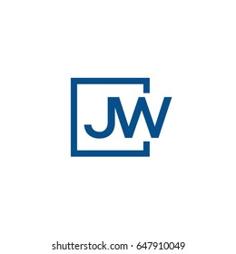 Simple Blue JW initial Logo designs template