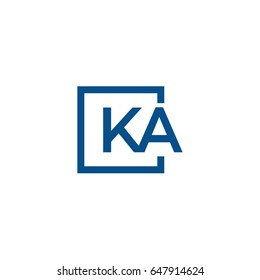 Simple Blue KA initial Logo designs template