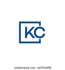 Simple Blue KC initial Logo designs template