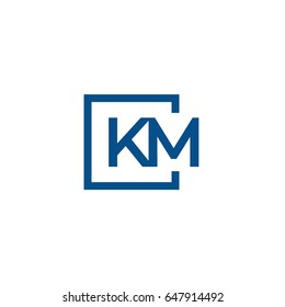 Simple Blue KM initial Logo designs template