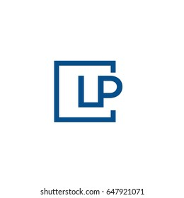 Simple Blue LP initial Logo designs template