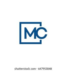 Simple Blue MC initial Logo designs template
