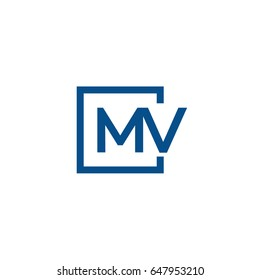 Simple Blue MV initial Logo designs template
