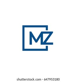 Simple Blue MZ initial Logo designs template