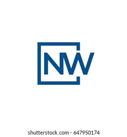 Simple Blue NW initial Logo designs template