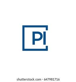 Simple Blue PI initial Logo designs template