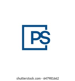 Simple Blue PS initial Logo designs template