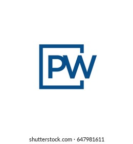 Simple Blue PW initial Logo designs template