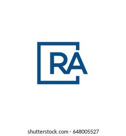 Simple Blue RA initial Logo designs template