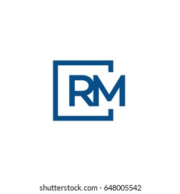 Simple Blue RM initial Logo designs template