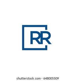 Simple Blue RR initial Logo designs template