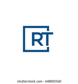 Simple Blue RT initial Logo designs template