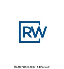 Simple Blue RW initial Logo designs template