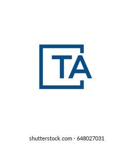 Simple Blue TA initial Logo designs template
