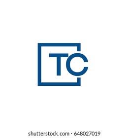 Simple Blue TC initial Logo designs template