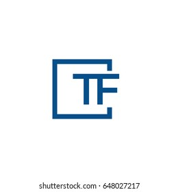 Simple Blue TF initial Logo designs template