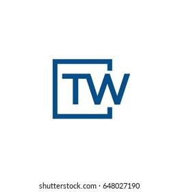 Simple Blue TW initial Logo designs template