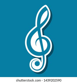 Simple blue vector treble clef label with shadow