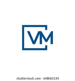 Simple Blue VM initial Logo designs template