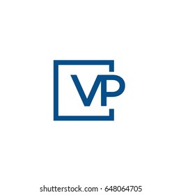 Simple Blue VP initial Logo designs template