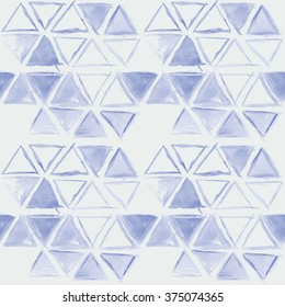 simple blue watercolor triangle pattern