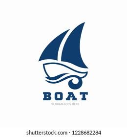 Simple boat logo template