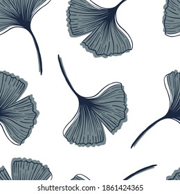 A simple boho-style pattern with a Ginkgo biloba plant. The delicate neutral colors of the background.
