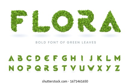 simple bold green leaves textured natural font realistic garden letters set business logo design template bundle plant tree summer nature grass real farm vine isolated spring abstract foliage natural