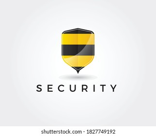 simple and bold shield forming bee hive or honey bees idea logo design brand vector icon illsutration inspiration. security logos style