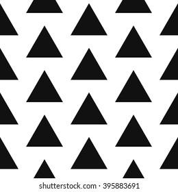 Simple bold triangle shape black and white seamless pattern. Vector geometric monochrome starlight background. Triangle classic ornament.