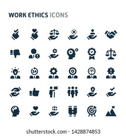 Simple bold vector icons related to employment & work ethic. Symbols such as teamwork, morality, proficiency, leadership and empathy are included. Editable vector, still looks perfect in small size.