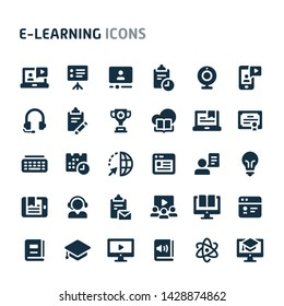 Simple bold vector icons related to online learning & education. Symbols such as source programs, media equipment & online education are included. Editable vector, still looks perfect in small size.