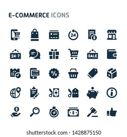 Simple bold vector icons related to website store & e-commerce. Symbols such as store object, payment method and shipping are included in this set. Editable vector, still looks perfect in small size.
