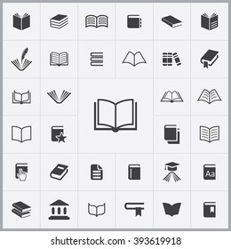 Simple book icons set. Universal book icon to use in web and mobile UI, set of basic UI book elements