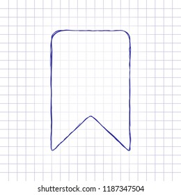 simple bookmark icon. Hand drawn picture on paper sheet. Blue ink, outline sketch style. Doodle on checkered background