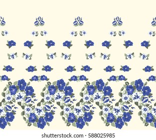 Simple border in small-scale cute blue flowers. Millefleurs. Floral seamless background for home textile, woman dress, book covers, manufacturing, wallpapers, gift wrap and scrapbooking. Satin print.