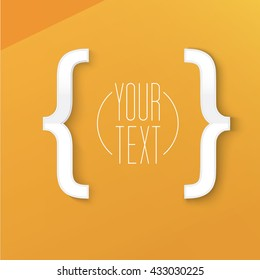 Simple Brackets Symbol Vector Design on an Orange Background for Your Newsletter