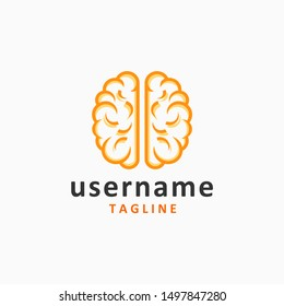 simple brain logo design inspiration . brain logo template . orange brain logo