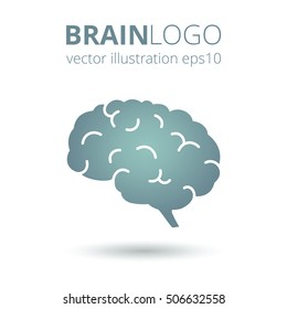 Simple brain logo isolated on white background. Brain silhouette vector template. Brainstorm think idea logotype concept icon.