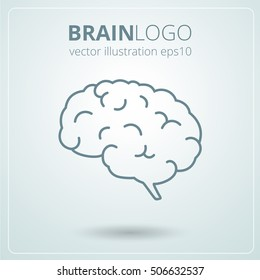 Simple brain logo. Brain silhouette vector template. Brainstorm think idea logotype concept icon.