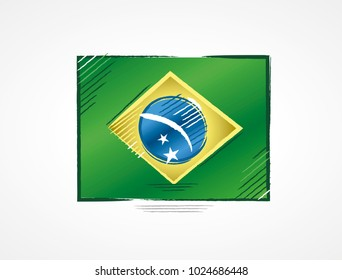 Simple brazilian flag with bright colors in draft format done with brushstrokes, illustration for the year of presidential election in the country