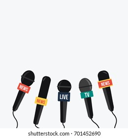 simple breaking news vector on TV and live. Speech & talking isolated. simple mic & record. Journalism flat design light background. concept Microphone press & mike cartoon for media politic or sport
