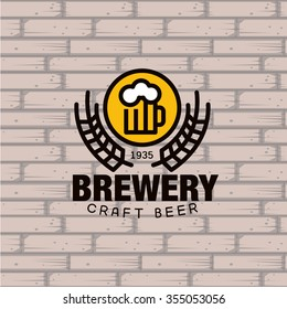 Simple Brewery Logo. beer mug against a brick wall Vector Illustration